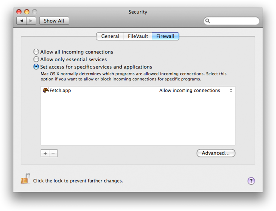 Firewall settings screenshot