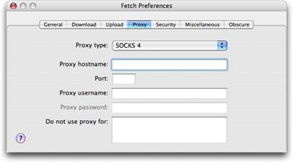 Proxy Preferences — Fetch Help